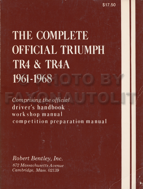 1961-1967 Triumph TR4 & TR4A Shop Manual Reprint