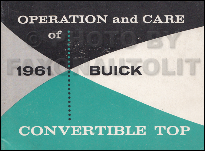 1961 Buick Convertible Top Owner's Manual Original