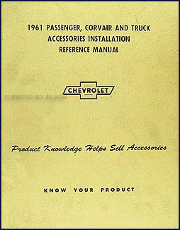 1961 Chevrolet Accessory Installation Manual Original