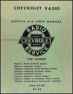 1961 Chevy Radio Manual Original Car, Corvette & Truck