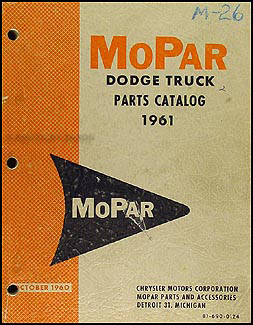 1961 Dodge Pickup and Truck Parts Book Original