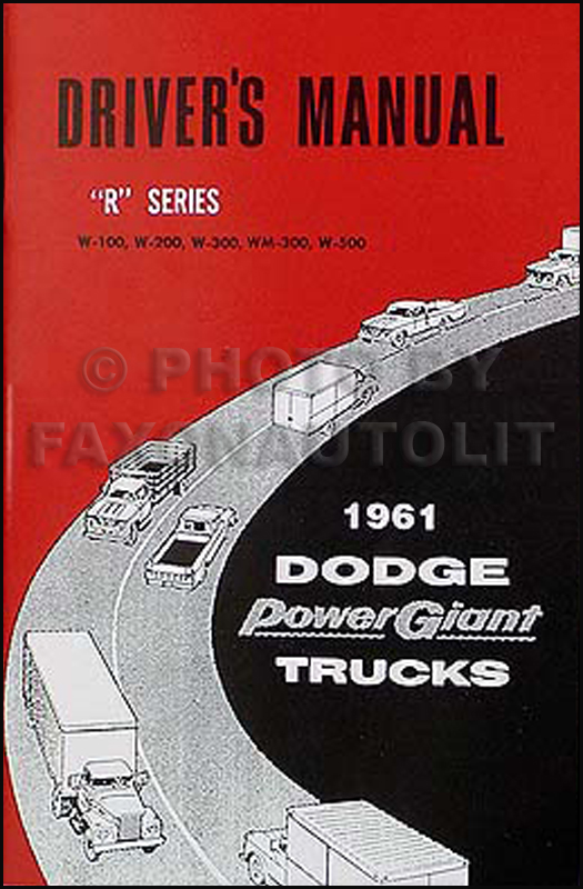 1961 Dodge 4x4 Pickup Truck & Power Wagon Reprint Owner Manual