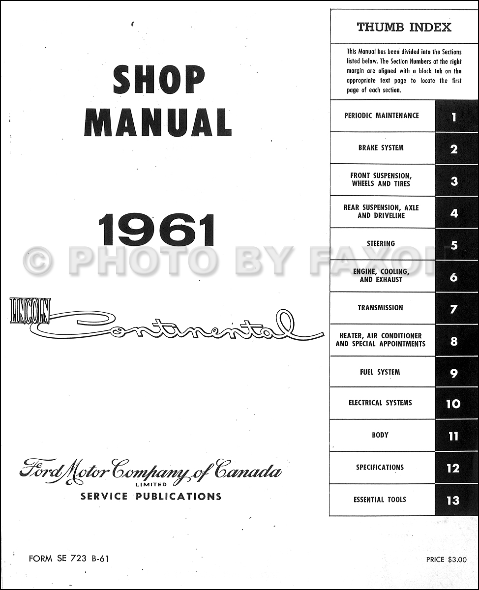 1961 Lincoln Continental Canadian Shop Manual Original · Table of Contents