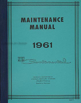 1961 Lincoln Continental Wiring Diagram Manual Reprint on