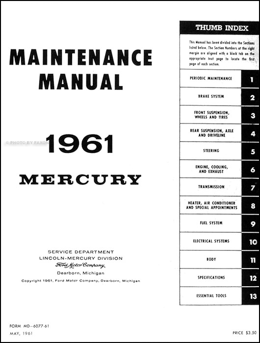 1961 mercury meteor  u0026 monterey repair shop manual original