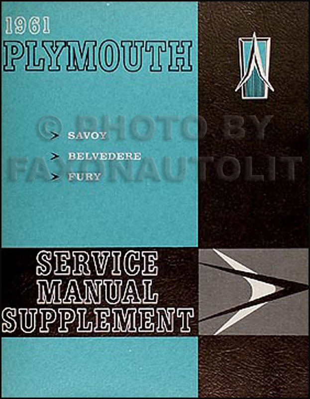1961 Plymouth Shop Manual Original Supplement