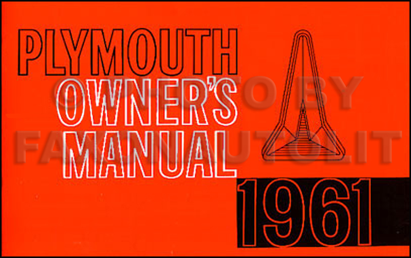 1961 Plymouth Reprint Owner's Manual