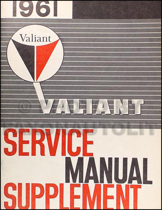 1961 Plymouth Valiant Shop Manual Supplement Original