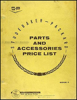 1959-1966 Studebaker Parts & Accessories Price List Original