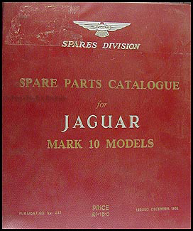 1962-1963 Jaguar Mark 10 Parts Book Original