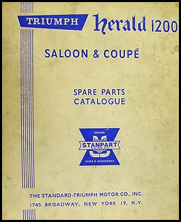 1962-1964 Triumph Herald 1200 Parts Book Original