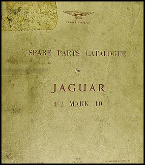 1962-1966 Jaguar 4.2 Mark 10 Parts Book Original