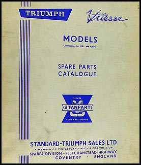1962-1966 Triumph Vitesse Parts Book Original