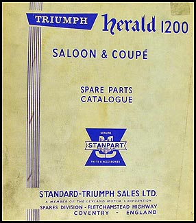 1962-1968 Triumph Herald 1200 Parts Book Original