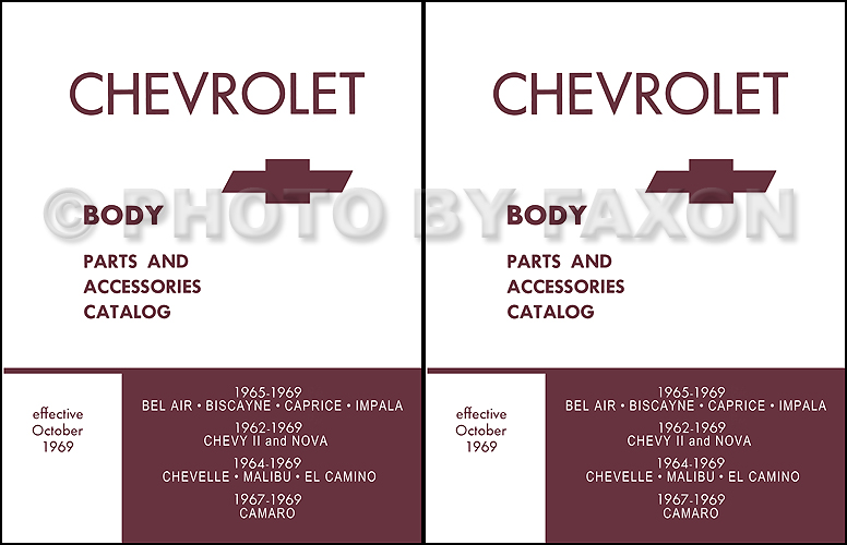 1962-1969 Chevrolet Car Illustrated Body Parts Book Reprint