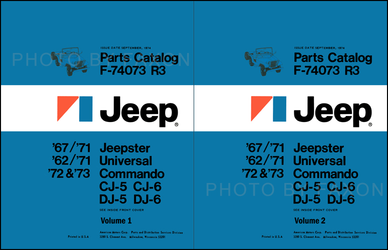 1962-1973 Jeep CJ, DJ, and Jeepster Parts Book Reprint