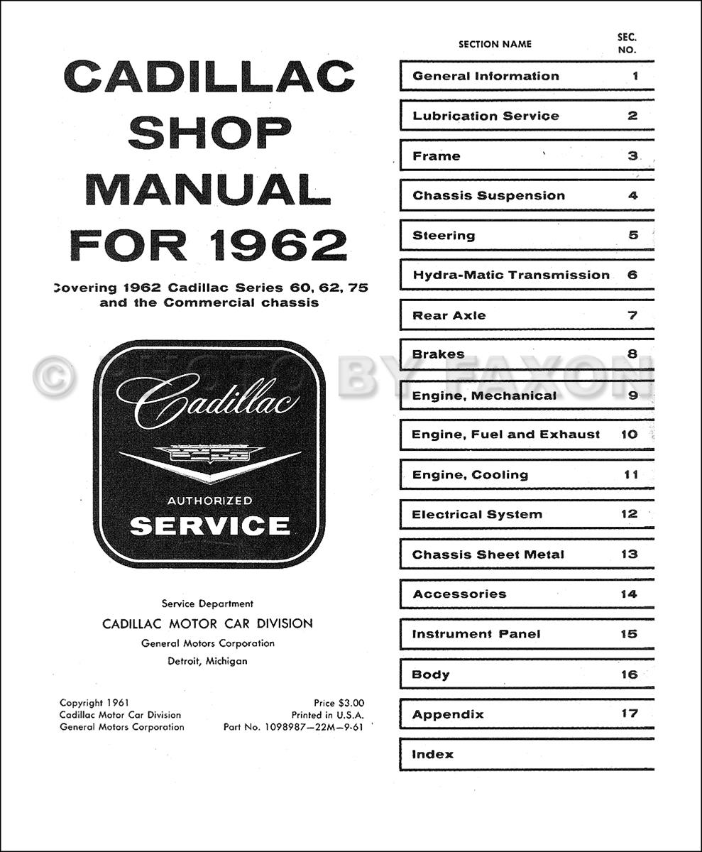 1962 cadillac repair shop manual reprint