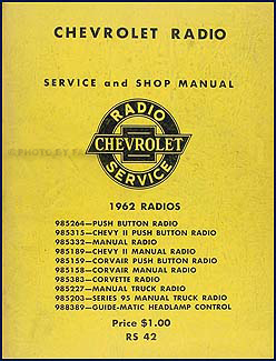 1962 Chevy Radio Manual Original Car, Corvette & Truck