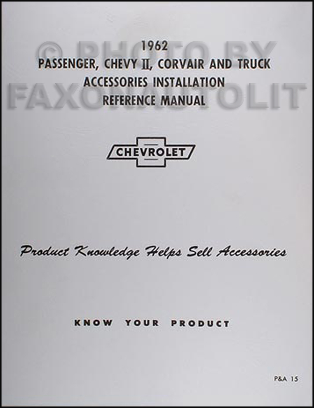 1962 Chevrolet Accessory Installation Manual Reprint Car and Truck