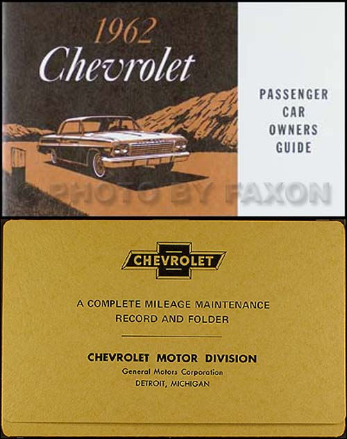 1962 Chevrolet Car Reprint Owner Manual Impala  Ss