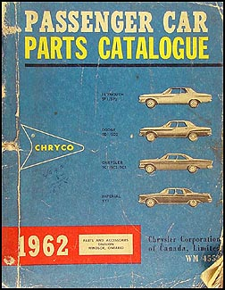 1962 Chryco Car Parts Book Original Canadian