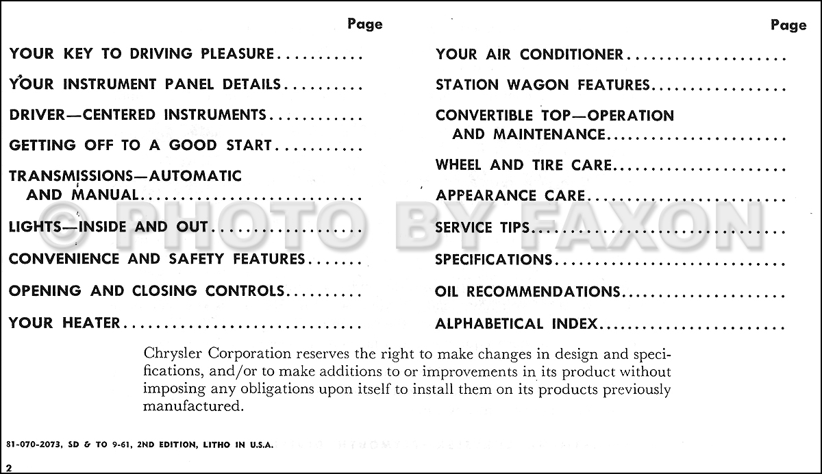1962 Chrysler Owner's Manual Reprint New Yorker Newport 300 Town & Country.  Table of Contents