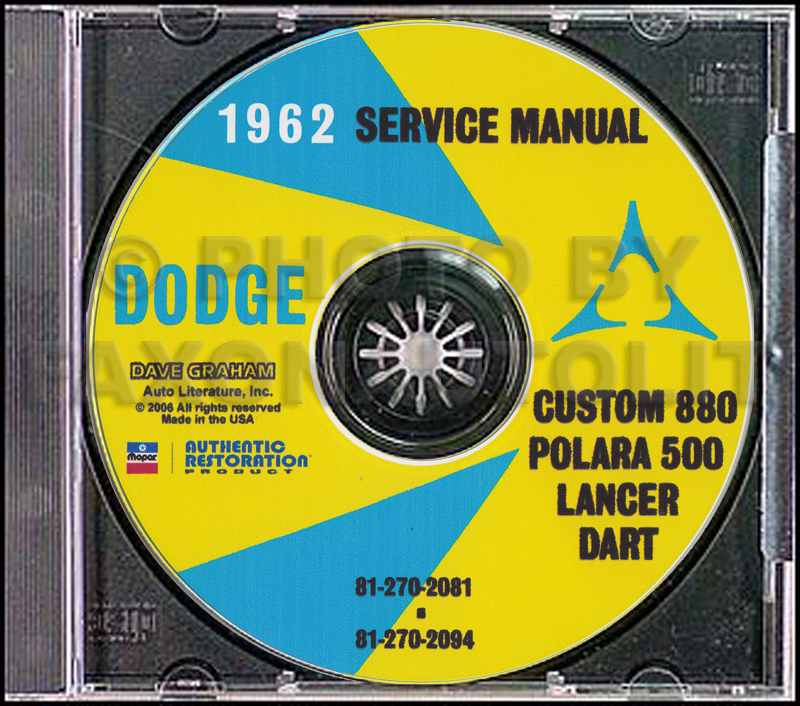 1962 Dodge Car CD Shop Manual All models