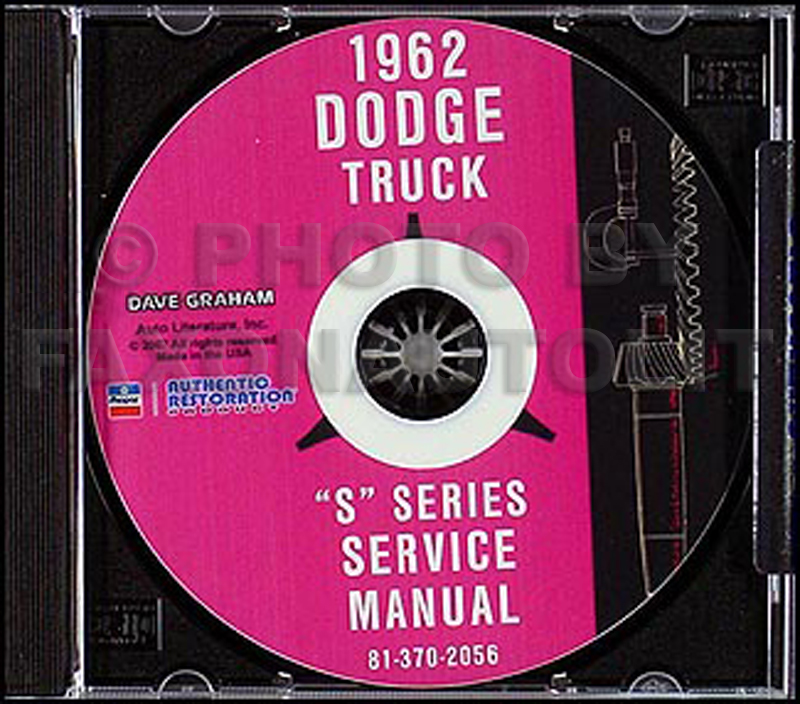 1962 Dodge Pickup & Truck Shop Manual on CD-ROM