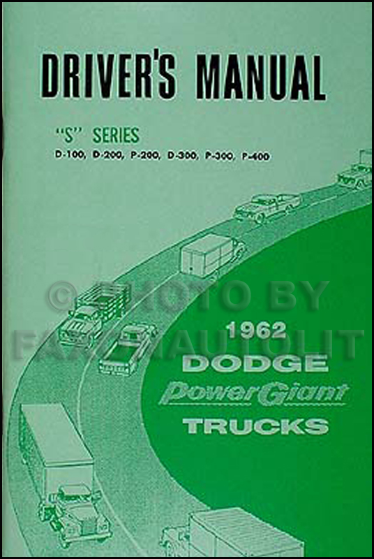 1962 Dodge Pickup Truck Owner's Manual Reprint D100-D300