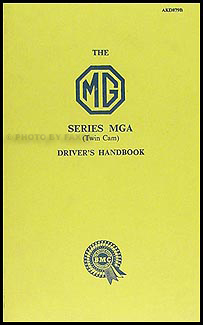 1962 MGA 1600 Mark II Owner's Manual Reprint
