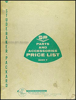 1956-1962 Studebaker Packard Parts & Accessories Price List Original