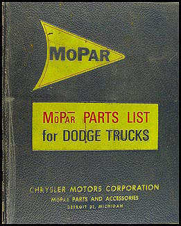 1963-1968 Dodge Truck Parts List Original Parts Book