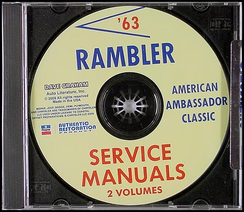 CD-ROM 1963 AMC Rambler Shop Manual Set