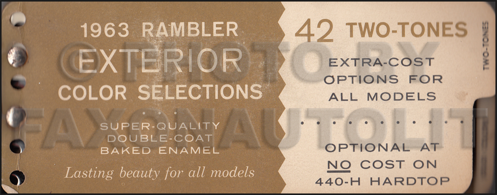 1963 AMC Rambler Original Factory Paint Chip Book