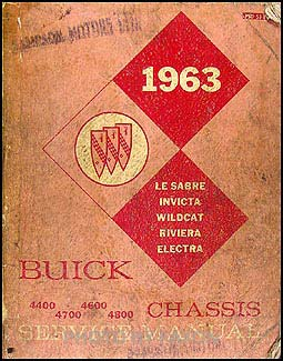1963 Canadian Buick Repair Shop Manual Orig. Riviera LeSabre Invicta Electra