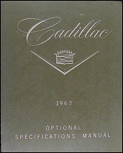 1963 Cadillac Optional Specifications Book Original