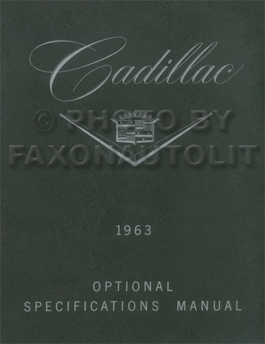 1963 Cadillac Optional Specifications Book Reprint