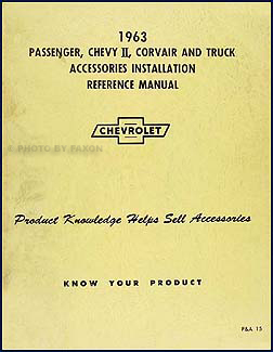 1963 Chevy Accessory Installation Manual Original
