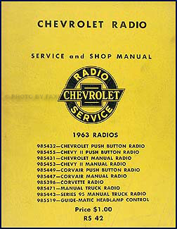 1963 Chevy Radio Manual Original Car, Corvette & Truck