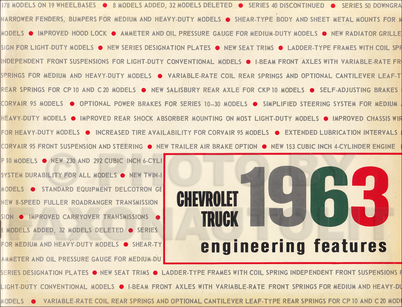 1963 Chevrolet Truck Engineering Features Manual Original