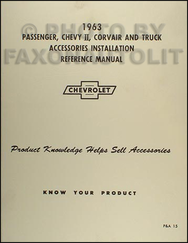 1963 Chevy Accessory Installation Manual Reprint Car, Pickup & Truck