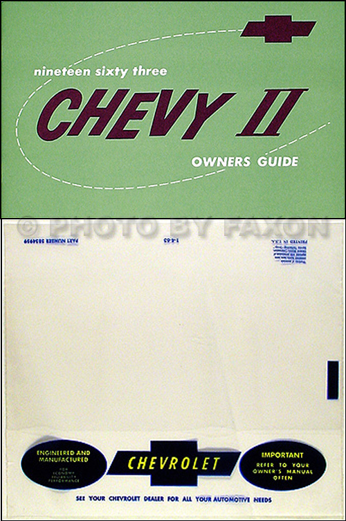1963 Chevy II, Nova, & SS Reprint Owner's Manual Package