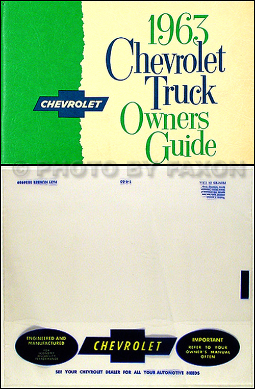 1963 Chevrolet Truck Reprint Owner's Manual Package