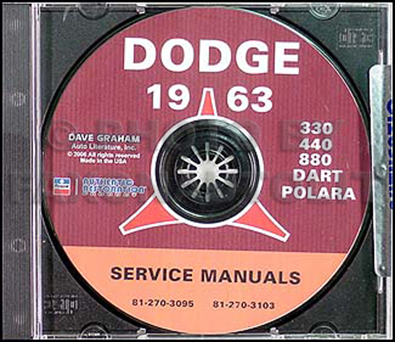 1963 Dodge Car CD Shop Manual for all models
