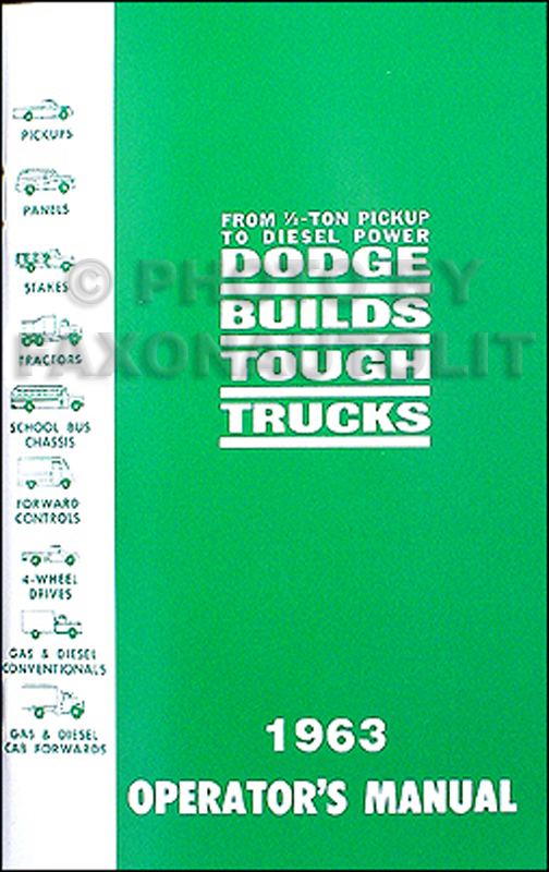 1963 Dodge Pickup Truck & Power Wagon Owner's Manual Reprint