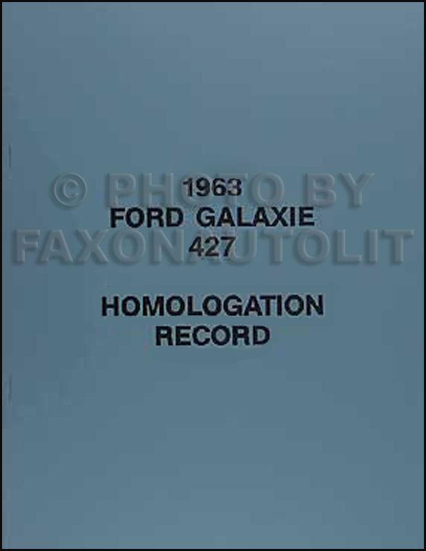 1963-1964 Ford Galaxie 427 High Performance Parts List Reprint