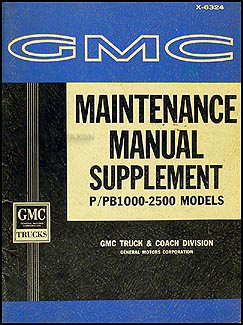 1963 GMC Stepvan P/PB1000-2500 Repair Manual Original Supplement
