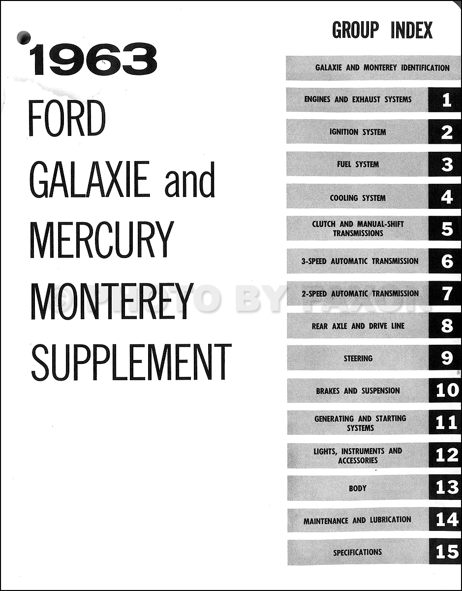 1962 1963 Mercury Monterey Repair Shop Manual Supplement Original 1954 Wiring Diagram Table Of Contents
