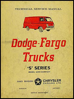 1964-1965 Dodge/Fargo Canadian A100 Repair Shop Manual Compt Van Sportsman