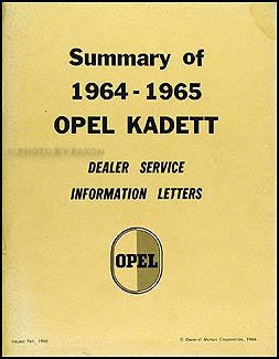 1964-1965 Opel Kadett Service Bulletin Manual Original